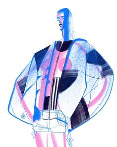 Richard Solomon - Jianrong-Lin-013-Fashiongallery_2018 Illustration Mode, Fashion Illustration Sketches, Fashion Sketchbook, Fashion Design Sketches, Character Illustration, Sketchbook Drawings, Mode Collage, Illustrations And Posters, Design Illustrations