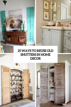 25 ways to reuse old shutters in home decor cover - DigsDigs Indoor Shutters, Old Shutters, Home Decor Bedroom, Entryway Decor, Diy Home Decor, Room Decor, Shutter Projects, Painting Shutters, Shutter Doors