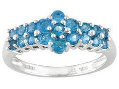 .96ctw Round Madagascar Neon Blue Apatite Sterling Silver Ring