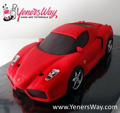 Ferrari Enzo Car Cake - Cake by Yeners Way - Cake Art Tutorials - CakesDecor Bolo Ferrari, Ferrari Cake, 3d Cakes, Fondant Cakes, Cupcake Cakes, Fondant Bow, Fondant Flowers, Fondant Figures, Car Cake Tutorial