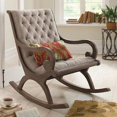 Curl up in the scrolled arms of our deep, tufted Grayson Rocker, its perfect for a satisfying read or a comfortable chat. - Model Home Interior Design Home Furniture, Furniture Design, Chair Design, Furniture Market, Home Interior, Interior Design, Home And Deco, Home Furnishings, Room Decor