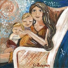 Just Sitting ~ pregnant mother with 2 children print by Katie m. Berggren