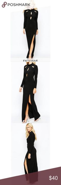 ASOS Sexy Maxi Dress w Cutouts and Slit sz. 8-10 Perfect dress if you're a Kardashian, a goth, or some fabulous combination of both. Super sexy slinky jersey dress with turtleneck and long sleeves, teases with cutouts at the shoulders and bust. Very comfortable to wear, slips over the head. Worn once, comes to you in clean, nearly new condition.  Brand: Love Size: 12 UK (8-10 US) ASOS Dresses Maxi