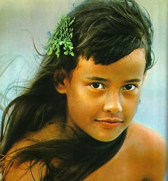 "Beautiful photograph of eight year old April Hoopai from the book ""The Hawaiians"", Island Heritage, 1970. Photo taken by Robert B. Goodman, Hawaii."