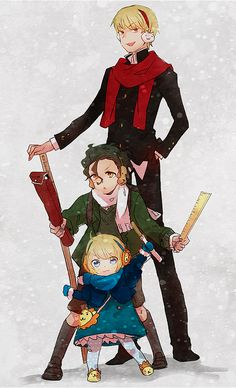 Fate/Zero (gilgamesh, lancer, and saber) OMG LOOK AT HER LITTLE LION SHOES. LOOK AT THEM. THEY'RE SO CUTE.