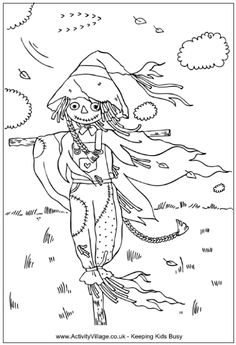 Scarecrow coloring page, scarecrow in field at autumn time
