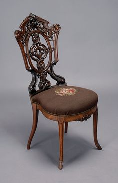 ~ Intricately Carved Chair With Needlework Seat  ~