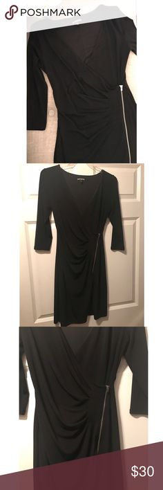 """Express • jersey dress w/ rouching and side zipper Beautiful evening dress, only worn once and dry cleaned. This material just slides right over your body! Rouching and silver zipper on the left side, deep v neck. Fit reference : 5'3"""" 130 pounds 32B. From a pet free and smoke free home. Express Dresses"""
