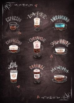 """Beautiful """"Coffee types"""" metal poster created by Mr Jackpots. Our Displate metal prints will make your walls awesome. Coffee Type, Great Coffee, Iced Coffee, Coffee Drinks, Beverage Drink, Starbucks Coffee, Cafe Logo, Coffee Facts, Coffee Quotes"""