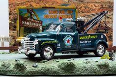 1:38 KINSMART 1953 CHEVROLET 3100 WRECKER TOW TRUCK GREE Perfect for Diorama use #Kinsmart #Chevrolet