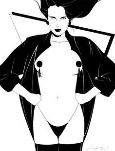 Patrick Nagel Forum, Playboy Magazine Illustration  Ink on Board 18.75 x 14.25
