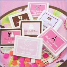 How cute are these personalized gum box favors?