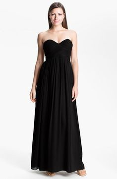 $149, Black Silk Evening Dress: Laura Ruched Sweetheart Silk Chiffon Gown by Donna Morgan. Sold by Nordstrom. Click for more info: http://lookastic.com/women/shop_items/141790/redirect