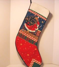 e8c97af69 Mary Engelbreit Christmas Stocking Needlepoint Santa Chimney Toys Believe  Stars