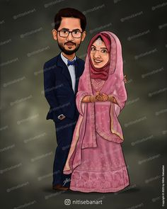 Muslim wedding caricature, Custom Caricatures illustration from photos, Save the date, Indian caricature, Caricature Wedding Gifts, Caricature Invite, guests sign in board, India Wedding, Kerala wedding, nitisebanart Wedding Caricature, India Wedding, Caricatures, Kerala, Save The Date, Muslim, Invite, Wedding Gifts, Aurora Sleeping Beauty
