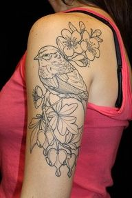 Tattoo: bird, flowers and leaves. Arm and shoulder. Would love to see it colored!