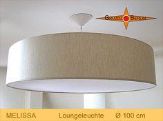 Loungeleuchte MELISSA, Ø 100 cm. Die Pendellampe mit Diffusor und Baldachin überzeugt durch das Kingsize-Format und das naturbelassene, grobe Leinen mit seiner schönen Struktur, die bei Beleuchtung besonders schön zur Geltung kommt.