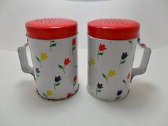 Vintage Salt and Pepper Shakers with Handles Metal Tulip Flowers Floral Tableware Mid Century Retro Art Deco 1960s