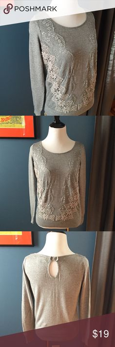 """Lauren Conrad Lace Appliqué Embroidered sweater This gray sweater takes it to the next level with beautiful lace appliqué and embroidery on the front panel. Featuring a keyhole and now in the back, this sweater is 60% cotton, 40% rayon. Bust measures 17"""" across; length 22"""". EUC LC Lauren Conrad Sweaters Crew & Scoop Necks"""