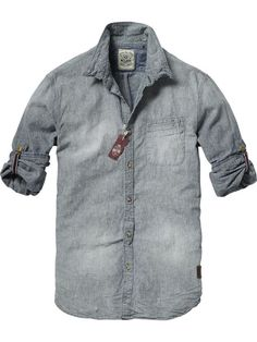 Japanese styled long-sleeved chambray shirt by Scotch  Soda: