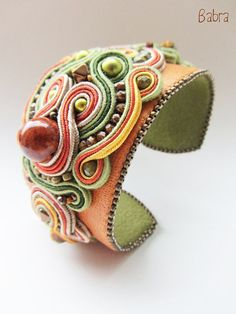 Shop for soutache on Etsy, the place to express your creativity through the buying and selling of handmade and vintage goods. Soutache Bracelet, Soutache Jewelry, Handmade Bracelets, Cuff Bracelets, Handmade Jewelry, Embroidery Jewelry, Beaded Embroidery, Biscuit, Polymer Clay Bracelet