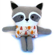 Raccoon soft toy - raccoon softie - woodland designer fabric - felt