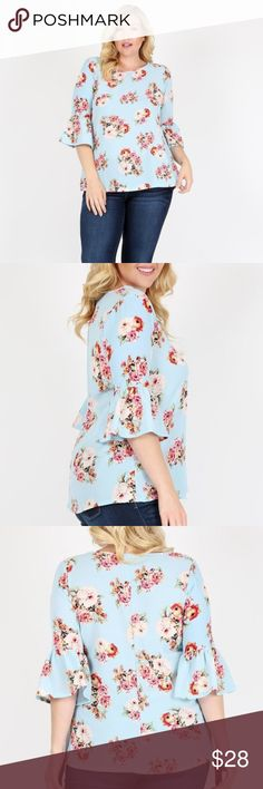 c13ca011aac51 PLUS SIZE FLORAL RUFFLED SLEEVE TOP Everything about this top says  femininity  From the ruffles that line the sleeves and accent your curves  to the soft