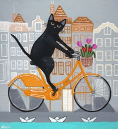 Amsterdam Bicycle Ride Original Cat Folk Art by KilkennycatArt
