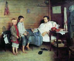 VISITA AL MAESTRO ENFERMO. Nikolay Petrovich Bogdanov-Belsky (1868-1945).