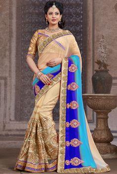 Fab Rich Cream, Aqua Blue and Indigo Blue #Saree - Shopping @ http://www.yourdesignerwear.com/fab-rich-cream-aqua-blue-and-indigo-blue-saree-p-54947.html