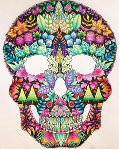 Just finished this cool skull from Enchanted Forest Book, Skull, Johanna Basford, Halloween, Instagram, Colors, To Draw, Colour, Color