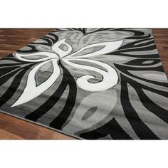 Discount & Overstock Wholesale Area Rugs  | Discount Rug Depot |  Modern Grey Area Rug Amazon Flower Grey Silver Black White Color Blend Room Size Rug - New Age Collection - Modern Prints