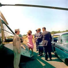President John F. Kennedy bringing Jackie to their rented house on Squaw Island from the Otis Air Force Base Hospital on Cape Cod following the death of their infant son Patrick, 1963....