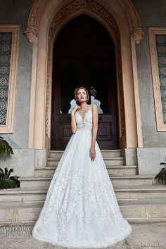 solo merav 2017 bridal sleeveless deep plunging v neck heavily embellished bodice romantic princess a  line wedding dress sheer back (lilianna) mv