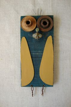 Wall Owl named Wainwright made from Reclaimed Materials  by PrettyPurpleTreasure on Etsy, $15.00