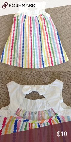 Gymboree Multicolored Sleeveless Dress Gymboree Sleeveless dress, multicolored dots on a white background. Open back with bow & button closure. Excellent condition, worn once. Size 2T. Gymboree Dresses Casual