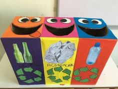day crafts for kids preschool recycled art Kids Crafts, Recycling Activities For Kids, Recycling For Kids, Recycled Crafts Kids, Projects For Kids, Preschool Activities, School Projects, Recycled Art, Earth Day Crafts