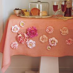 Pretty DIY tablecloth for a party or shower
