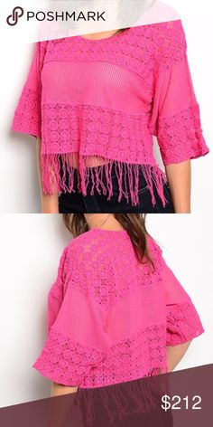 Boho Chic top NEW with tags  boho chic magenta fringed detailed crochet top. Comfy fit. 100% cotton ... Tops