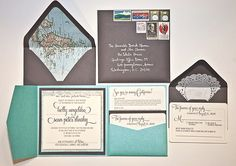 map as envelope liner