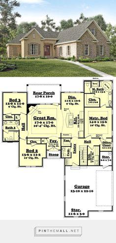 European Style House Plan - 3 Beds 2.5 Baths 1892 Sq/Ft Plan #430-119 - created via https://pinthemall.net