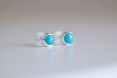 Mini Turquoise earrings. Sterling silver tiny Turquoise studs. Tiny Turquoise studs, Blue Turquoise studs, silver mini studs, blue studs. by masaoms on Etsy