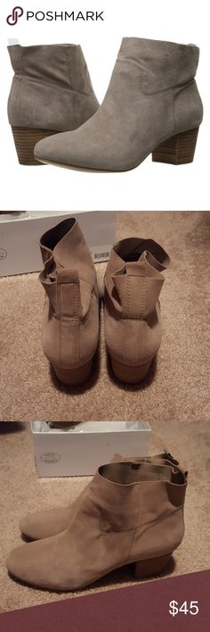 Sz. 10 Steve Madden Harbor Taupe Suede bootie These were worn once and are in very good used condition from a smoke-free home.  There is a very specific description from the Zappos website about these shoes and that is in one of the pictures above.  It has a suede leather upper construction and man-made lining with a lightly padded foot bed. It has a stacked block heel that is approximately 2 inches. Steve Madden Shoes Ankle Boots & Booties