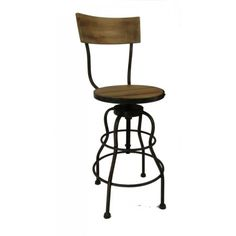 Tall Wooden Swivel Kitchen or Bar stool w Back Steel barstool chair seating old