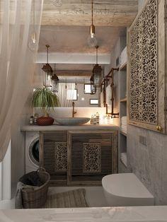 Красивый дизайн ванной комнаты: 120 фото различных стилей оформления http://happymodern.ru/krasivyy-dizayn-vannoy-komnaty/ Медь в аксессуарах и резные деревянные экраны для отопительных радиаторов и стиральной машины Смотри больше http://happymodern.ru/krasivyy-dizayn-vannoy-komnaty/