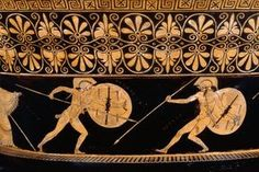 Pottery: red-figured volute-krater (bowl for mixing wine and water) with figure scenes on confined to a narrow, frieze-like band that encircles the lower element of the neck.   (a) Combat of Achilles and Hector in the presence of Athena and Apollo. On the left, Achilles (youthful) presses forward with shield advanced and spear shortened to deal a finishing stroke to Hector (bearded), who, bleeding from wounds in the chest and left thigh, sinks helplessly backwards, with shield extended to…