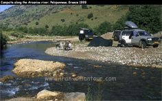 Freedom..campsite along the Aroanios river, Peloponnese Greece,   with Toyota Landcruiser and our Mitsubishi L300....1999