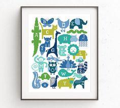 Modern cross stitch pattern Baby Nursery Animals Alphabet embroidery chart counted xstitch Fox Cat Elephant Giraffe Monkey Lion Baby shower