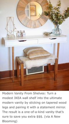 This is a super smart and thrifty way to create a vanity or desk