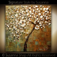 Abstract White Cherry Blossom Tree Oil Painting Thick Texture Gallery Fine Art via Etsy.